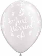 Wedding Balloons Married Butterflies (White) - 11 Inch Balloons 25pcs